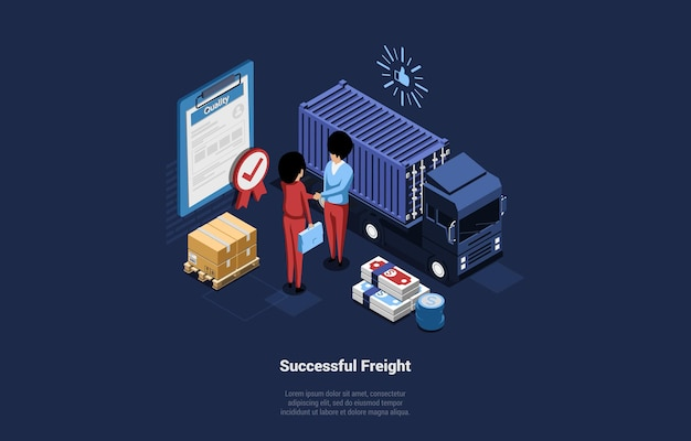 Illustration with successful freight writing on dark blue. good cargo transportation composition