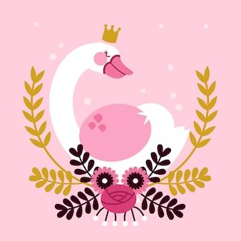Illustration with swan princess design
