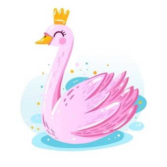 Illustration with swan princess design