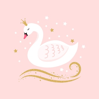 Illustration with swan princess