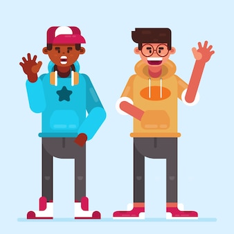 Illustration with teenagers waving hand