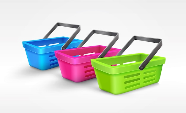 Illustration with three different colored empty shopping baskets isolated on a white background.