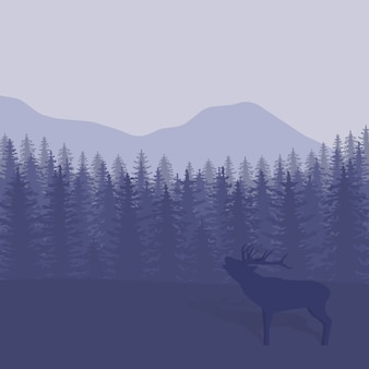 Illustration with trees and deer silhouettes
