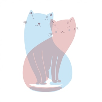 Illustration with two cats in love
