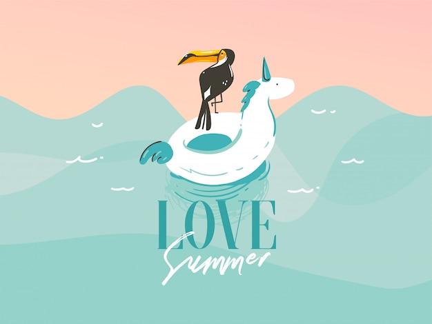Illustration with a unicorn swimming ,rubber float rings in ocean waves landscape and love summer typography quote