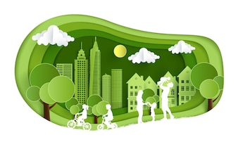 Illustration with views of grass, hills,city and family fun. design paper art