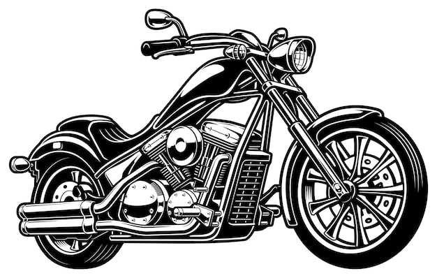 Illustration with vintage monochrome motorcycle. (version on white background)