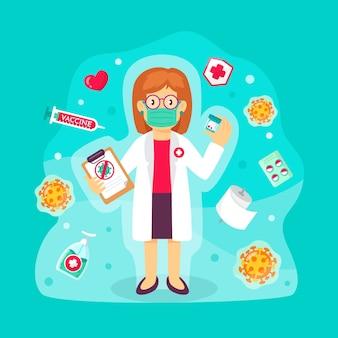 Иллюстрация с концепцией лечения вируса