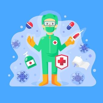 Illustrazione con cura del virus