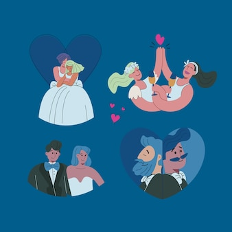 Illustration with wedding couple collection concept