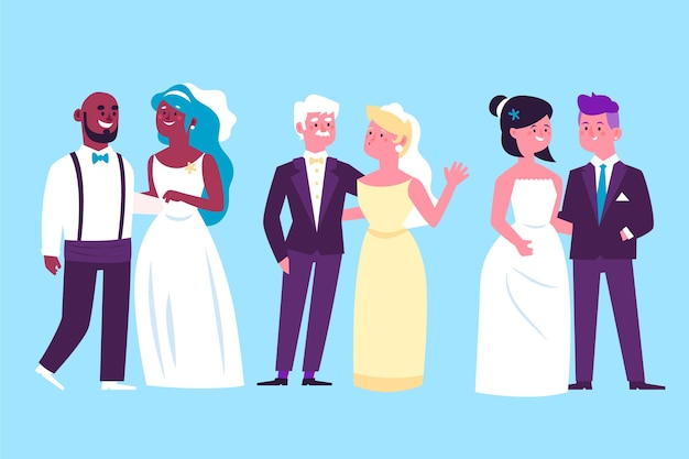 Illustration with wedding couple collection theme