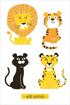 Illustration with a wild african cats lion, tiger, panther, leopard.