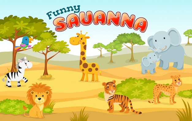 Illustration with wild animals of savanna and desert.