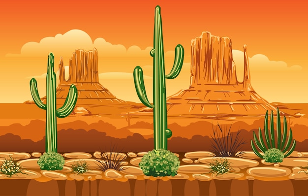 Illustration with wild west mountains