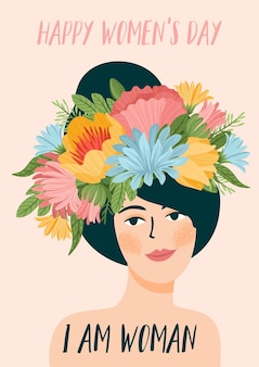 Illustration with woman in flower wreath. international women's day greeting card