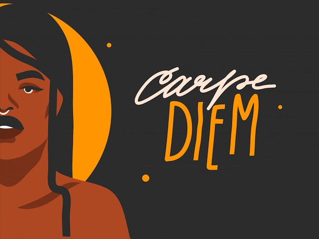 Illustration with a woman, golden full moon, and carpe diem handwritten lettering quote isolated on black background