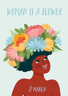 花の花輪の女性とのイラスト。国際女性の日のコンセプト。 3月8日