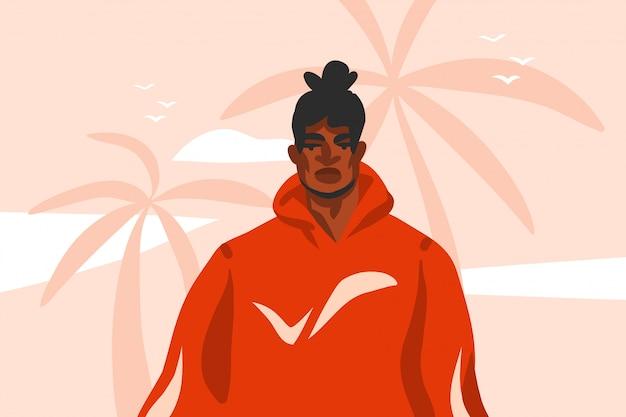 ピンクのパステル調の背景に分離されたパームツリービーチシーンのファッション衣装で、若い幸せな黒人アフリカ系アメリカ人の美しさの男の図