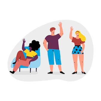Illustration with young people waving