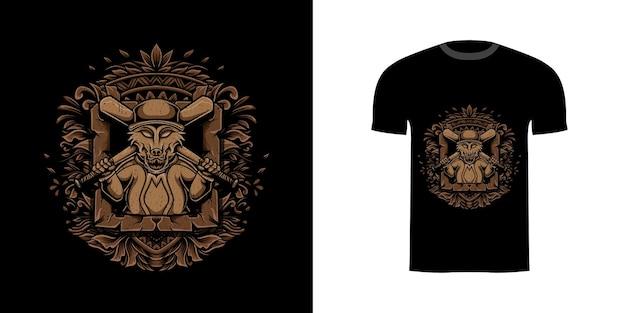 티셔츠 디자인을 위한 조각 장식이 있는 그림 늑대 야구
