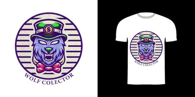 티셔츠 디자인을 위한 조각 장식이 있는 그림 늑대 수집가