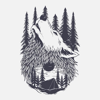 Illustration wolf and forest