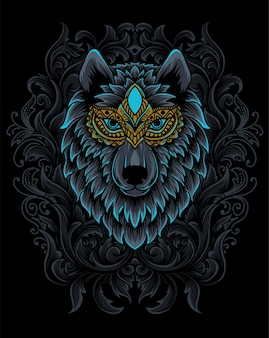 Illustration wolf head with engraving ornament.