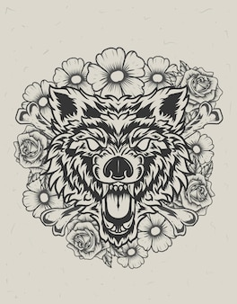 Illustration wolf head with flower monochrome style