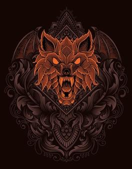 빈티지 장식 스타일의 그림 늑대 머리