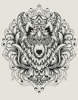 Illustration wolf head with vintage ornament