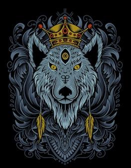 조각 장식 그림 늑대 왕