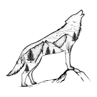 Illustration of a wolf with forest background