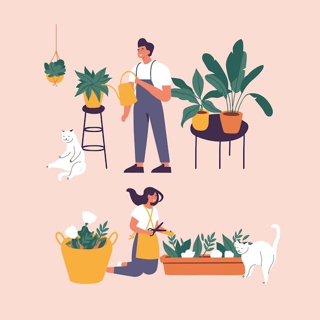 イラストプランターで育つ観葉植物の世話をする女性と男性。家で鉢植えの植物を栽培している若いかわいい女性。