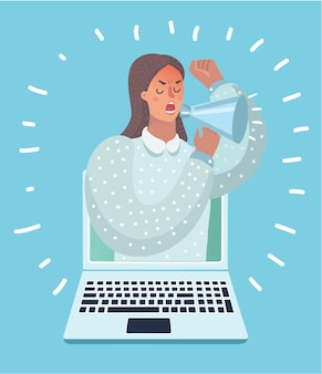 Illustration of woman appears from laptop computer with a megaphone.