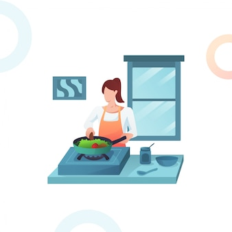 Illustration of the woman cooking vegetables