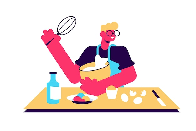 Illustration of woman cooking