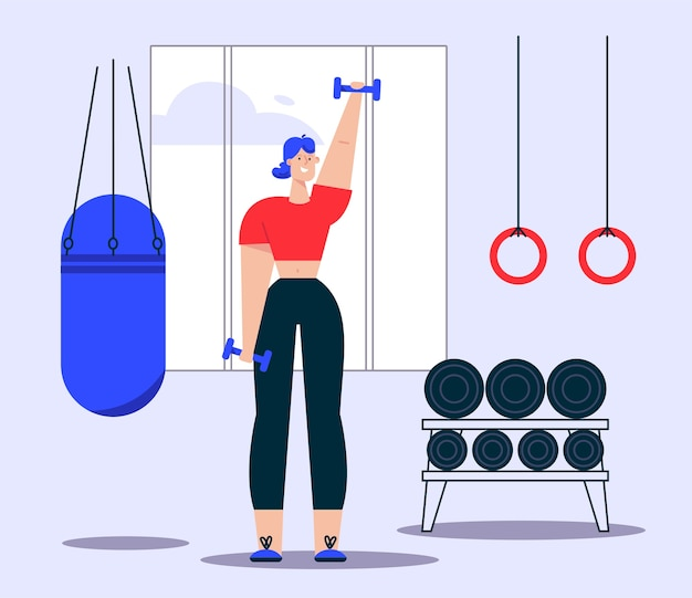Illustration of woman doing dumbbells exercises. punching bag, gymnastic rings, shelving sports equipment in gym. healthy lifestyle, strength exercises, loss weight