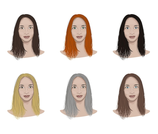 Illustration of a woman face with different hair and eyes colors