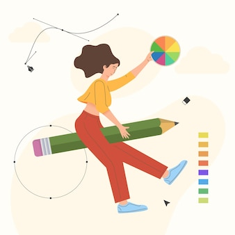 Illustration of woman flying on a pencil Premium Vector