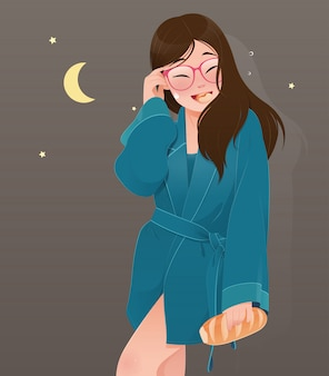Illustration woman in green nightwear eating bread. cartoon girl eating bakery from the kitchen at night. diet fail concept