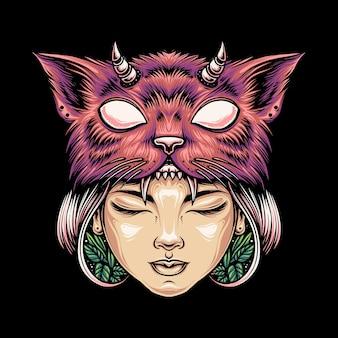 Иллюстрация голова женщины в шляпе с кошачьим лицом