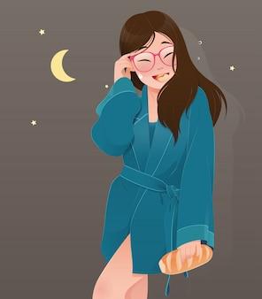 Женщина иллюстрации в зеленом nightwear есть хлеб. мультфильм девочка ест пекарню из кухни ночью. концепция провала диеты
