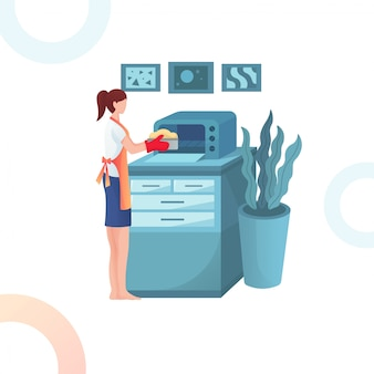 Illustration of the woman is cooking cookies in the microwave