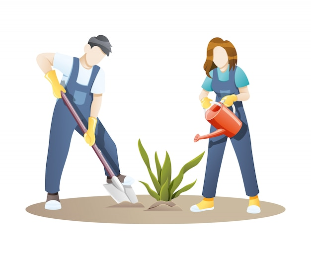 Illustration woman and man gardening together