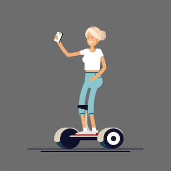 Illustration of woman and man on gyroscooters