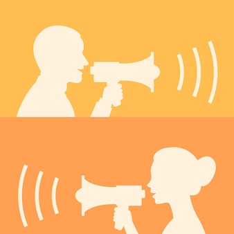 Illustration, woman and man says in loudspeaker, format eps 10