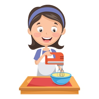 Illustration of woman mixing