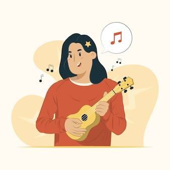 Illustration of woman playing guitar