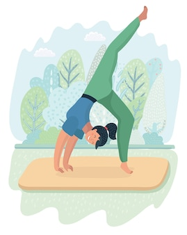 Illustration of woman posture yoga on park background. pretty girl doing exersize on nature landscape.+