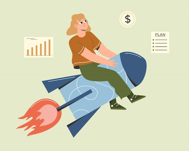 Illustration of woman sitting on a rocket starting a business project